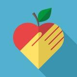 Apple, serce i ręka, Fotografia Stock