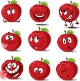 Apple set  flat design cute cartoon  vector illustration character isolated Royalty Free Stock Photography