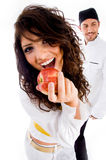 Apple with sexy girl and chef Stock Image