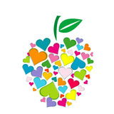 Apple shape made of hearts Stock Photos