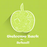 Apple Shape with School Stuff Inside. Green Apple Fruit Shape as Symbol of Knowledge with Numerous School Stuff Inside, Hand Drawn Digitally in White Outline and Royalty Free Stock Photo