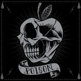 Apple shape Skull. Poison apple in Old school Tattoo Style vector for use stock illustration