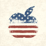 Apple shaped american flag. Stock Photos