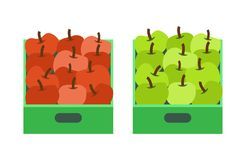 Apple Shop, Plastic Containers with Fruits Market. Apple shop, plastic containers with fruits in market vector. Icons of flat style, healthy organic food eaten royalty free illustration