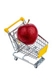 Apple in shopping cart Stock Photos