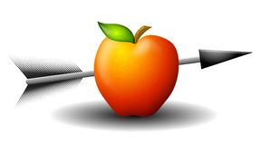 Apple Shot With Arrow. An illustration featuring a red apple with an arrow shot through it Royalty Free Stock Images