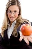 apple showing woman young Στοκ Εικόνες