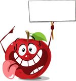 Apple with sign board hold in hand vector cartoon illuistration flat design Royalty Free Stock Images