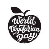 Apple-silhouet Wereld vegetarische dag Stock Fotografie