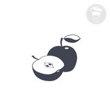 Apple. Silhouette apple, food icon set, healthy food Royalty Free Stock Photo