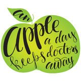 Apple silhouette with lettering. Stock Images