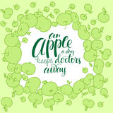 Apple silhouette with lettering. Stock Photography