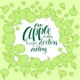 Apple silhouettieren mit Beschriftung Stockfotografie