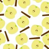 Apple with sinnamon seamless pattern. Cut Apple with sinnamon seamless pattern background Stock Images