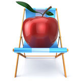 Apple sitting in beach chair summer vegetarion nutrition Royalty Free Stock Image