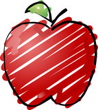 Apple sketch. Sketch of an apple Hand-drawn lineart look sketchy coloring illustration Stock Photography