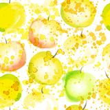 Apple slice seamless pattern with splashes. Summer apples watercolored hand draw art background. Fresh fruit repeatable. Pattern, healthy lifestyle and juicy Royalty Free Stock Photo