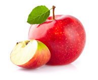 Apple with slice. On a white background royalty free stock photos