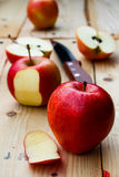 Apple sliced and peel Royalty Free Stock Images