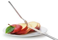 Apple sliced sections Royalty Free Stock Photos