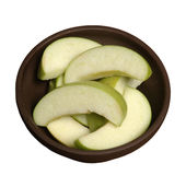 Apple slices. Healthy, racy green apple slices royalty free stock images