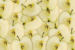 Apple slices. Multiple apple slices up close macro Royalty Free Stock Photography