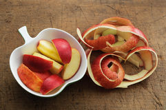 Apple Slices and Apple Peel Stock Images