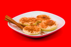 Apple slices with cinnamon Stock Photo