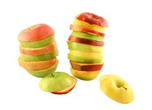 Apple slices; different colors Royalty Free Stock Photo