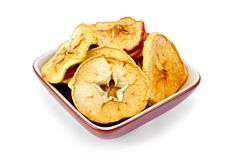 Apple slices of dried in bowl Royalty Free Stock Images
