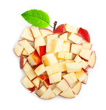 Apple slices with green leaf Royalty Free Stock Photos
