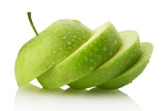 Apple slices on white background Stock Photos