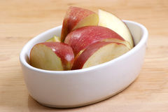 apple slices in a white bowl Royalty Free Stock Image
