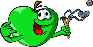 Apple with a slingshot Royalty Free Stock Image