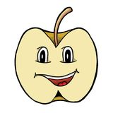 Apple with smile. Vector illustration, coloring book Stock Photos