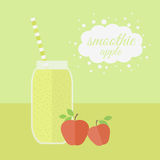 Apple smoothie in jar on a table Stock Photo