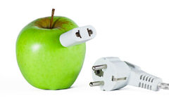 Apple with socket. Green apple with socket and plug Stock Images