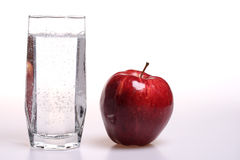 Apple and soda Royalty Free Stock Images