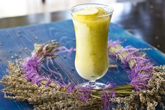 Apple sorbet in a tall glass with lavender. Apple sorbet in a tall glass with the lavender Stock Photos