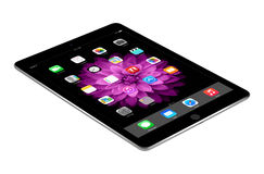 Apple Space Gray iPad Air 2 with iOS 8 lies on the surface, desi Stock Photos