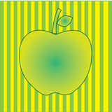 Apple. On special green and yellow lines background Stock Photos