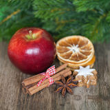 Apple With Spices And Dry Lemon Slices Stock Images