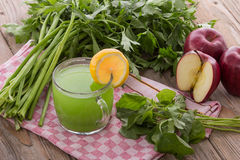 Apple and spinach mix juice Royalty Free Stock Images