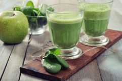 Apple and spinach smoothie Stock Photo