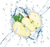Apple splash water isolated. On white background royalty free stock image