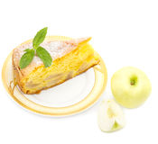 Apple sponge cake on a plate Royalty Free Stock Image