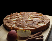 Apple sponge cake on the wooden board Royalty Free Stock Photography