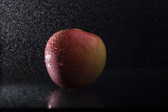 Apple in spray. One ripe tasty beautiful seasoning berry fruit of red yellow wet apple with water spray lying in studio on black background, horizontal picture Royalty Free Stock Image
