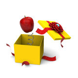 Apple springing out from a gift box. 3D model of red apple springing out from a yellow gift box Royalty Free Stock Photography