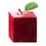 Apple Square Red Shiny Leaf Isolated Royalty Free Stock Image